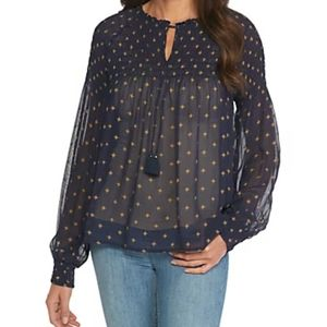 Lucky Brand Star Print Smocked Top Blouse